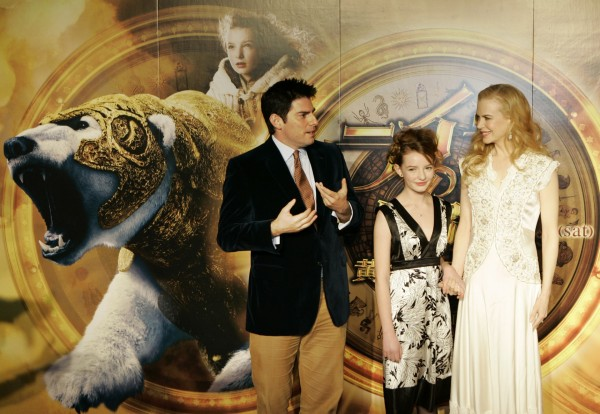 Director Chris Weitz, Dakota Blue Richards, and Nicole Kidman at the premiere for The Golden Compass