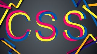 An illustration representing CSS art showing overlapping strands of red, yellow and navy that spell out the word CSS.