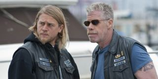 Charlie Hunnam and Ron Pearlman in Sons of Anarchy