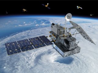 An artist's depiction of the Global Precipitation Measurement (GPM) Core Observatory, a partnership between NASA and the Japan Aerospace Exploration Agency, at work studying Earth.
