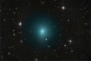 Comet 41P/Tuttle-Giacobini-Kresák shines a brilliant green in this photo by astrophotgrapher Chris Schur on March 24, 2017. The comet made its closest pass by Earth on April 1.