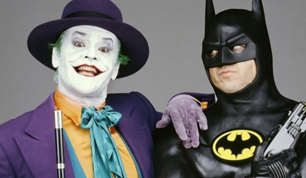 Batman Jack Nicholson Michael Keaton The Joker and Batman side by side