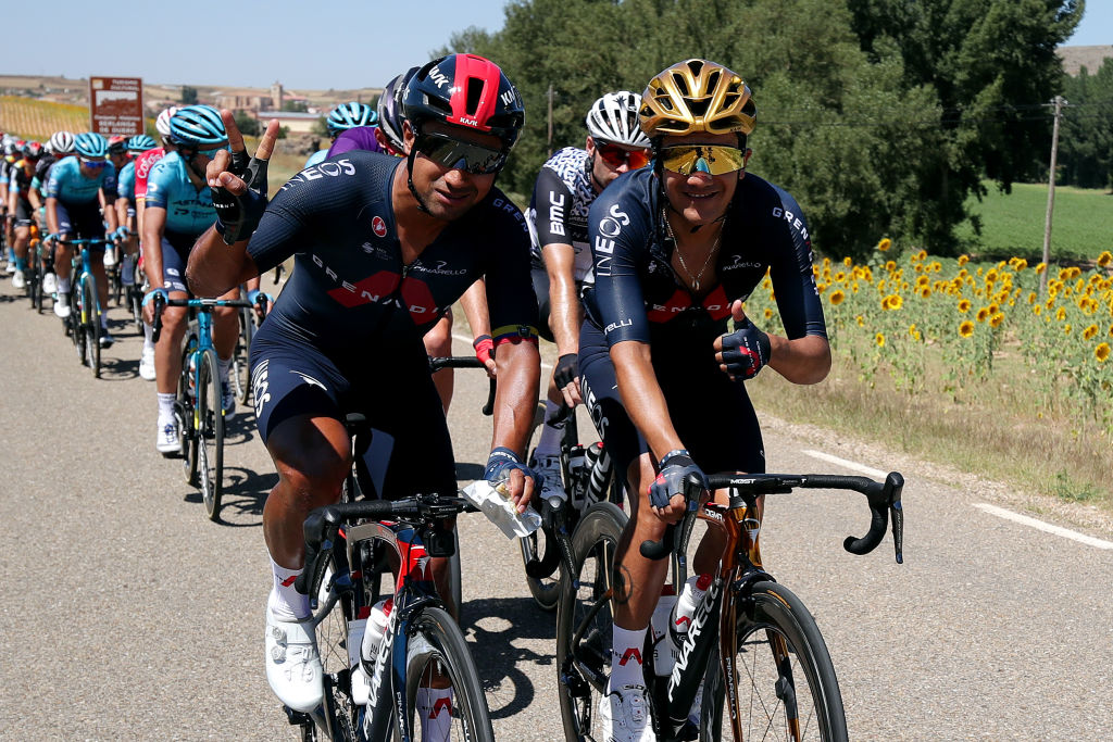 MOLINA DE ARAGON SPAIN AUGUST 17 LR Jhonnatan Narvaez Prado of Ecuador and Richard Carapaz of Ecuador and Team INEOS Grenadiers pose for a photograph during the 76th Tour of Spain 2021 Stage 4 a 1639km stage from El Burgo de Osma to Molina de Aragn 1134m lavuelta LaVuelta21 on August 17 2021 in Molina de Aragn Spain Photo by Gonzalo Arroyo MorenoGetty Images