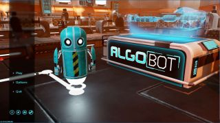 Illustration of AlgoBot robot as students control.
