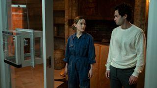 Victoria Pedretti and Penn Badgley in You season 3