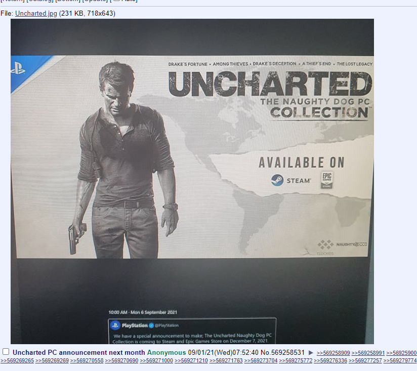 Leaked image of Uncharted Collection for PC