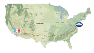 The Route for the Race Across the USA