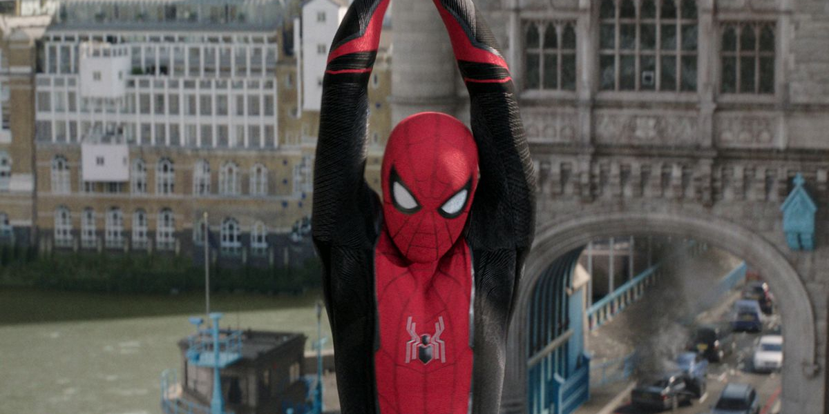 Spider-Man: Far From Home swinging over the Tower Bridge