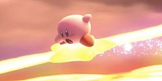 Kirby and his star, ready to warp.