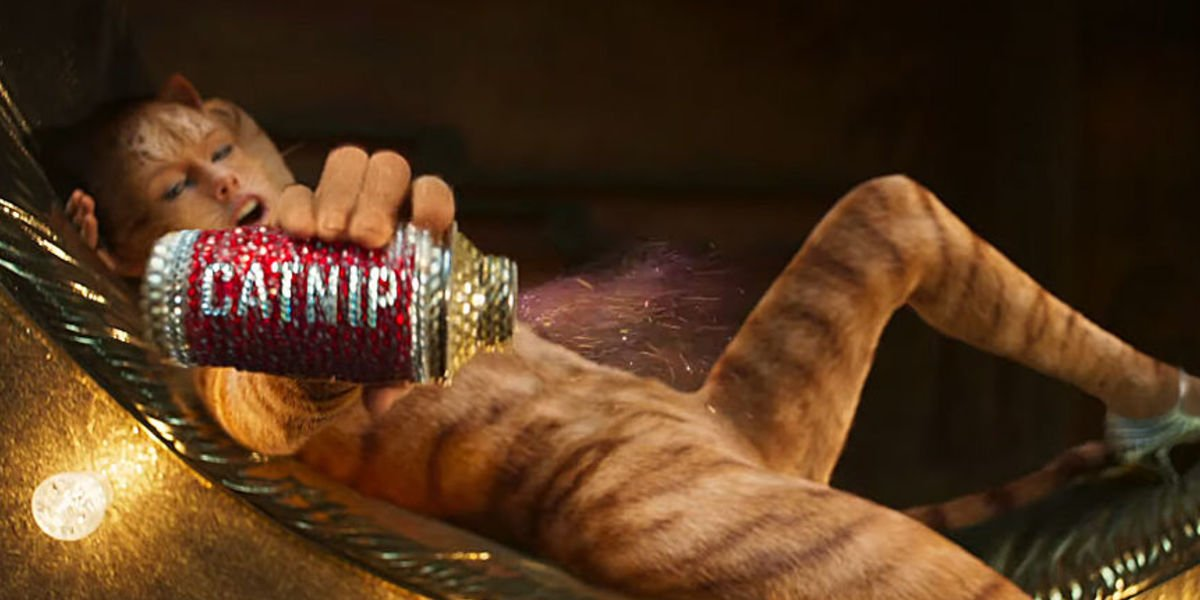 Taylor Swift sprinkling sparkly catnip in Cats