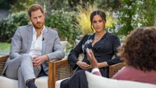 From left: Prince Harry and Meghan Markle sit down with Oprah Winfrey for the CBS special 'Oprah With Meghan and Harry'