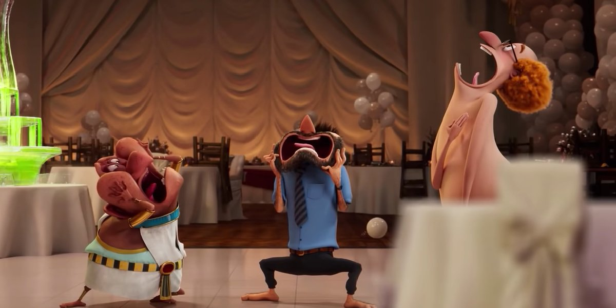 The Drac gang with their new human bodies in the trailer for Hotel Transylvania: Transformania.