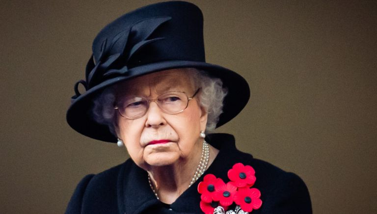 Queen Elizabeth II attends the National Service of Remembrance at The Cenotaph on November 08, 2020 in London, England.