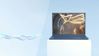 Qualcomm technology render image with laptop on a pedestal