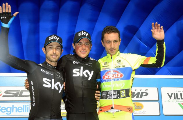 Dario Cataldo, Peter Kennaugh and Matteo Rabottini on the podium after the final stage of the 2014 Coppi & Bartoli Week