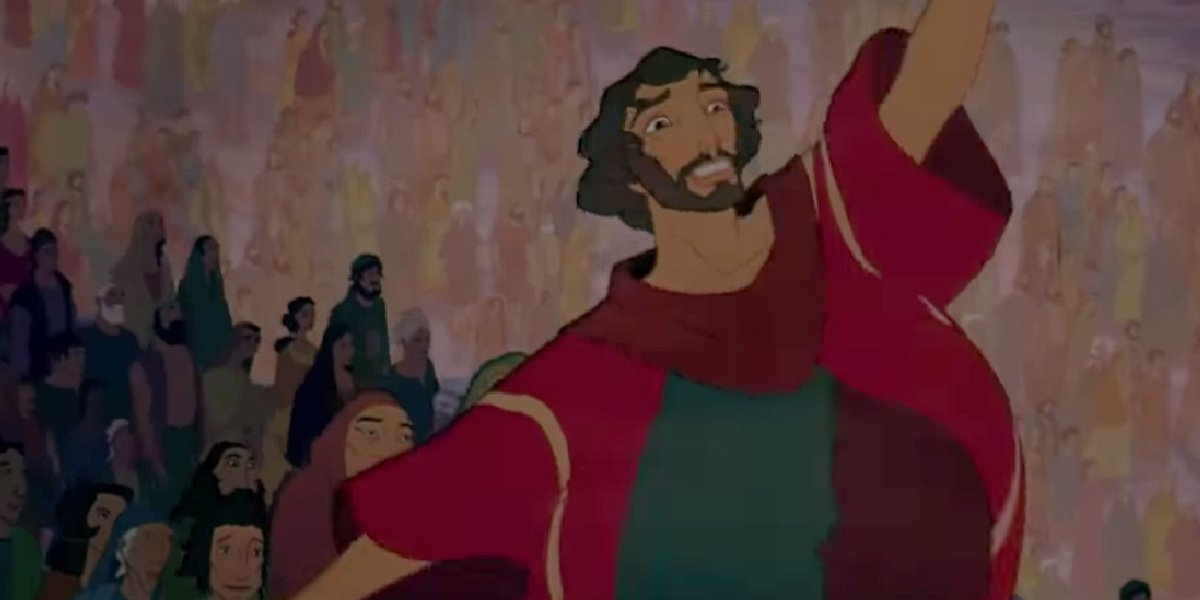 Moses leading his people away in The Prince of Egypt.