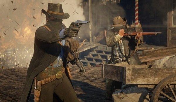 a gunfight in Red Dead Redemption 2.