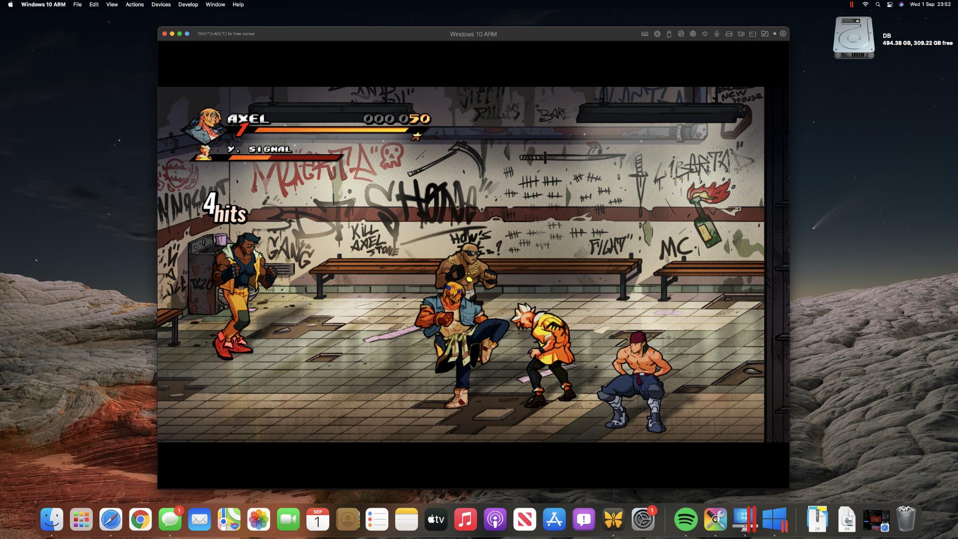 Streets of Rage 4 on an M1 Mac mini through Steam