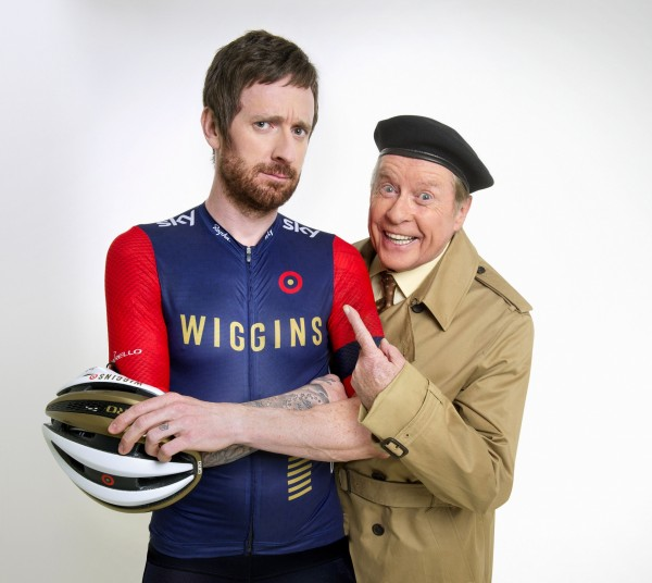 Tour de France winner Sir Bradley Wiggins with Michael Crawford as he reprises his role of Frank Spencer in a special one-off Some Mothers Do 'ave 'em sketch for Sport Relief. (BBC)