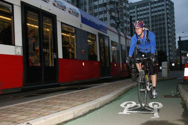 General cycling riding in bike lane