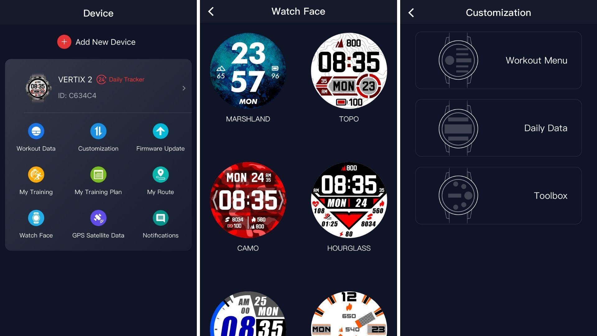 Coros Vertix 2 app configuration