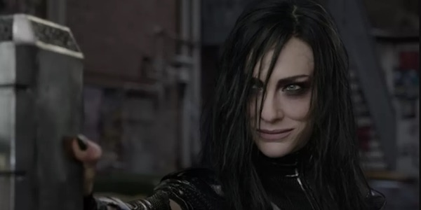 Hela with Thor's hammer in Ragnarok