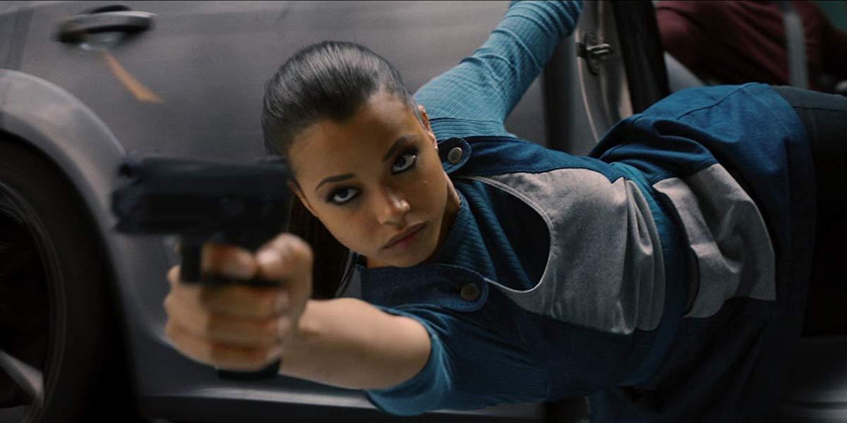 Ella Balinska in action as Jane in Charlie's Angels