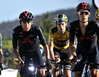 Wout van Aert rides behind Egan Bernal at the 2020 Tour de France