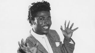 "Musician Little Richard poses for a still in Los Angeles, California to promote the movie ""Don't Knock The Rock"" which was released in 1956."