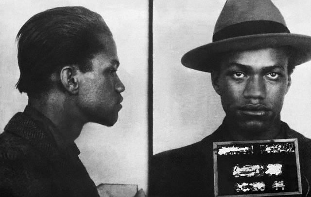 The mugshot taken of Malcolm X after his arrest in 1944.