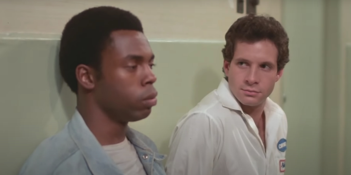 Michael Winslow and Steve Guttenberg in Police Academy