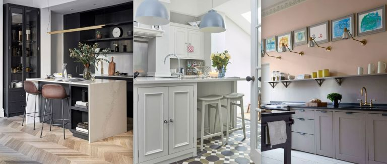 An example of small kitchen ideas showing three different small kitchens with islands and open shelving