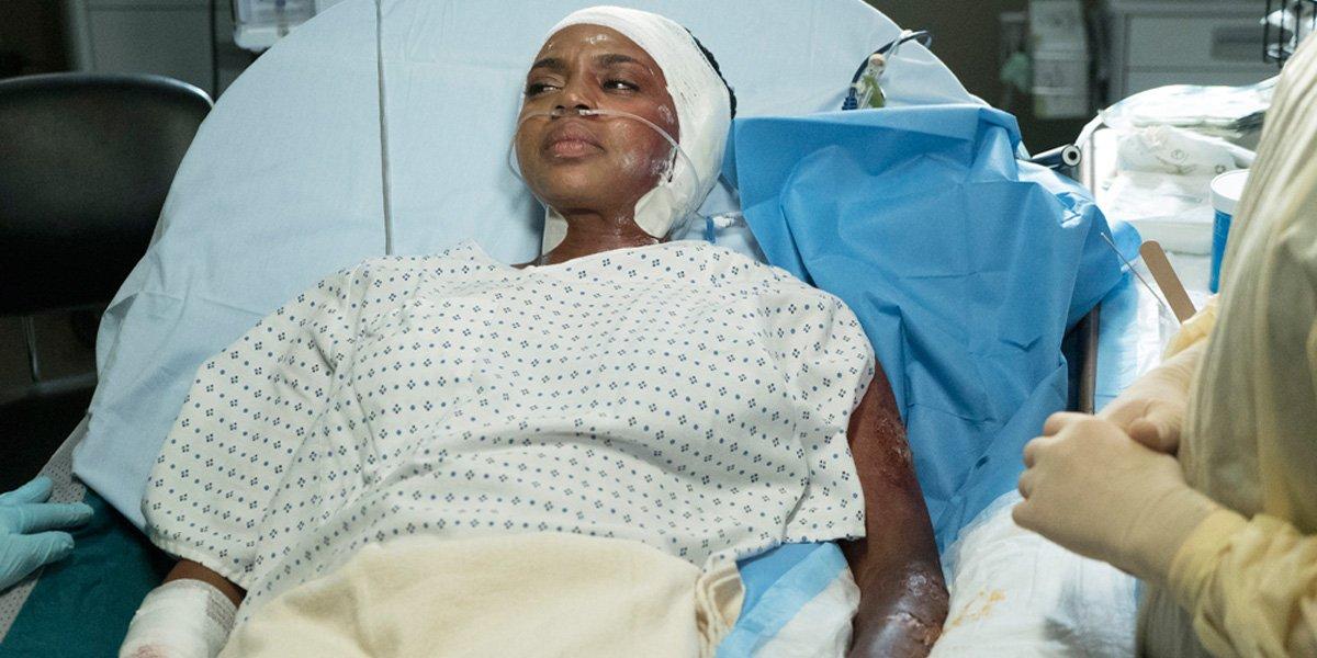 Grey's Anatomy Season 13 finale Stephanie burned from fire in hospital bed ABC