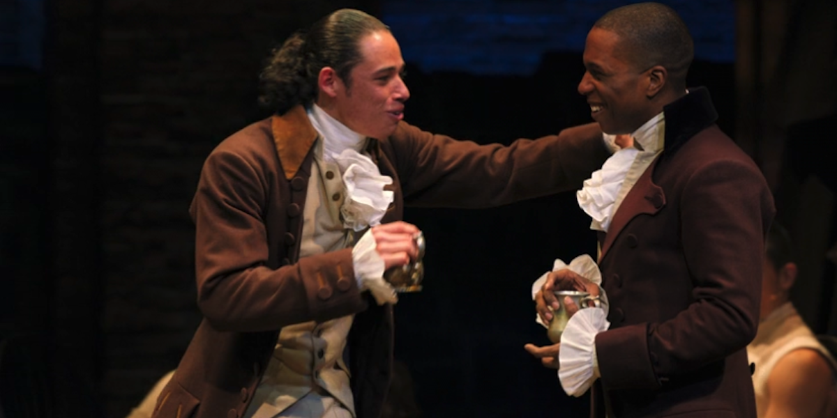 Anthony Ramos and Leslie Odom Jr in hamilton stage