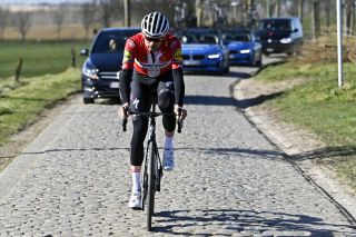 Kasper Asgreen of Deceuninck-QuickStep training on the cobbles in the spring