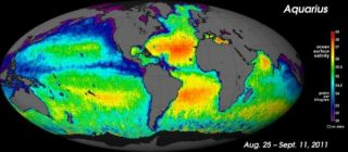 Map of salinity in ocean surface.
