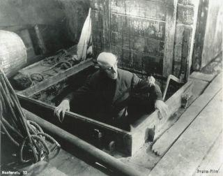 "Still of Max Schreck in F.W. Murnau's silent vampire film ""Nosferatu."""