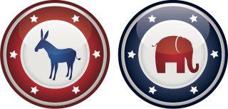 Vector illustration of democrats vs republicans mascots on a badge or shield.