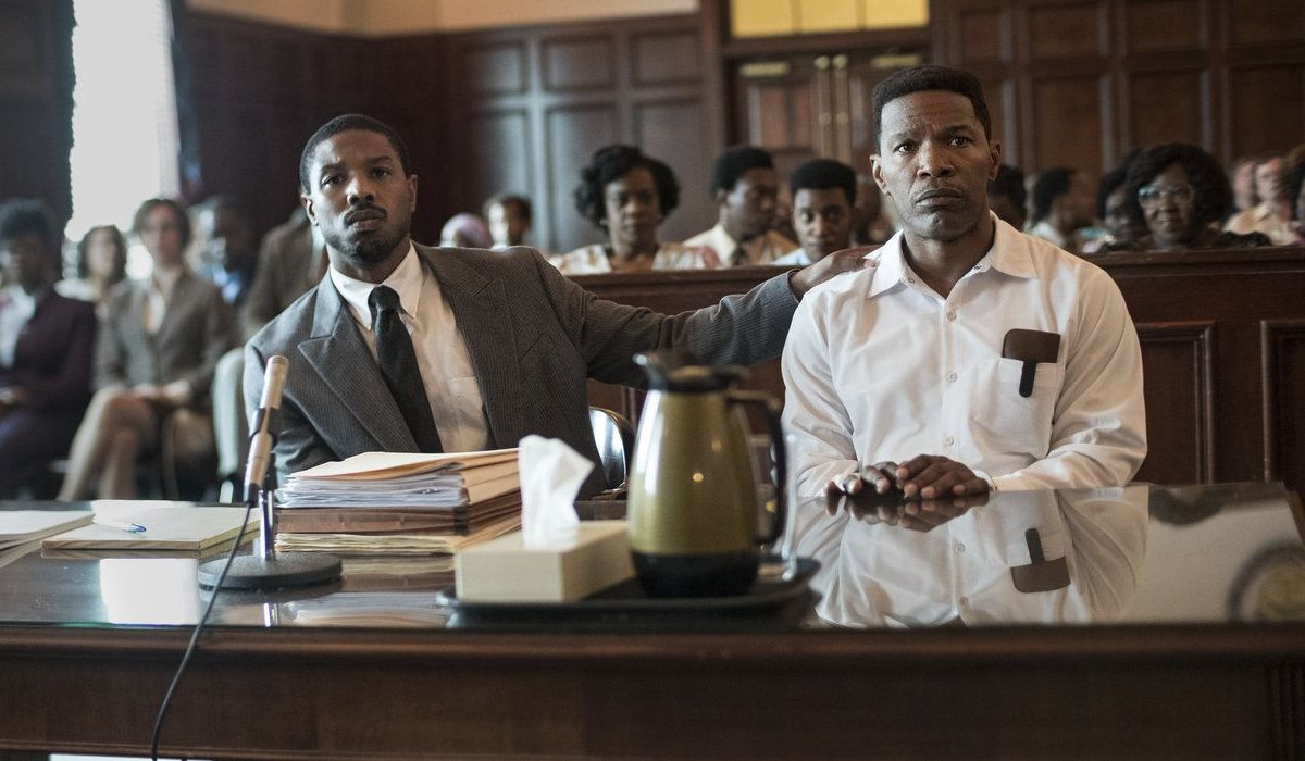 Just Mercy Michael B. Jordan and Jamie Foxx in a courtroom scene