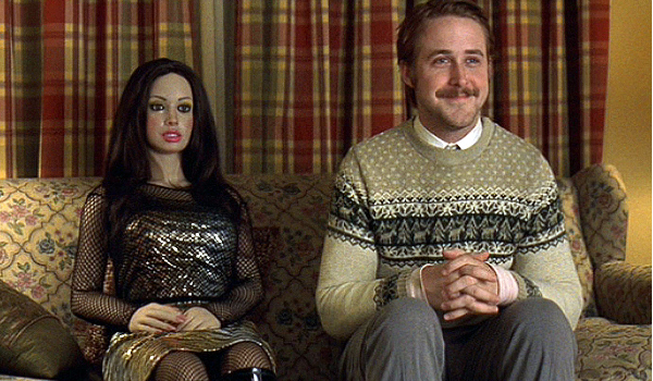 Lars and the Real Girl Ryan Gosling smiling with his girl