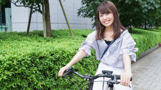 Girl riding electric bike