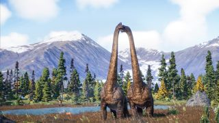 Two long-necked dinosaurs in a mountain landscape