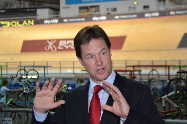 Nick Clegg at Manchester Velodrome