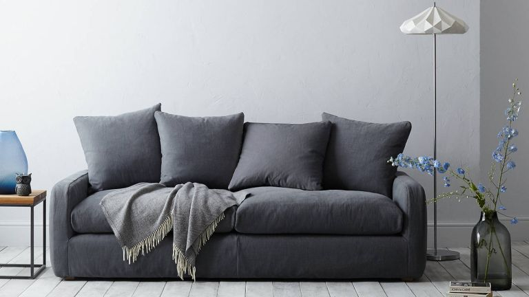 John Lewis sale: living room with contemporary dark grey toned sofa by john lewis & partners