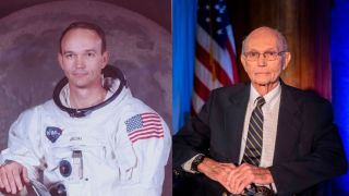 Left image shows astronaut Michael Collins in Apollo spacesuit, right image shows collins at Collins is seen at the National Press Club in 2019