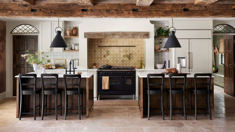 kitchen with double island from fixer upper