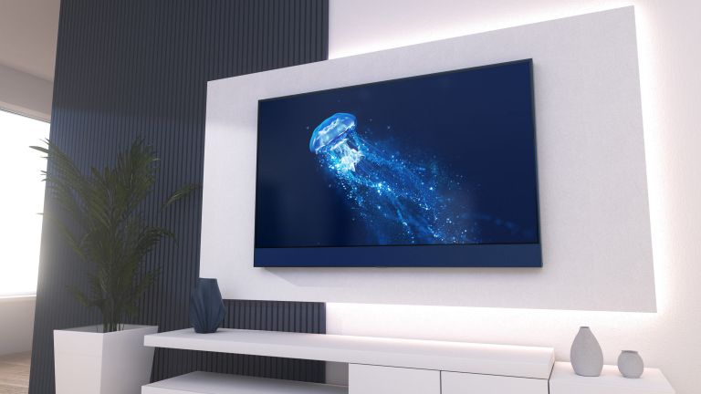 Sky Glass in blue mounted on wall