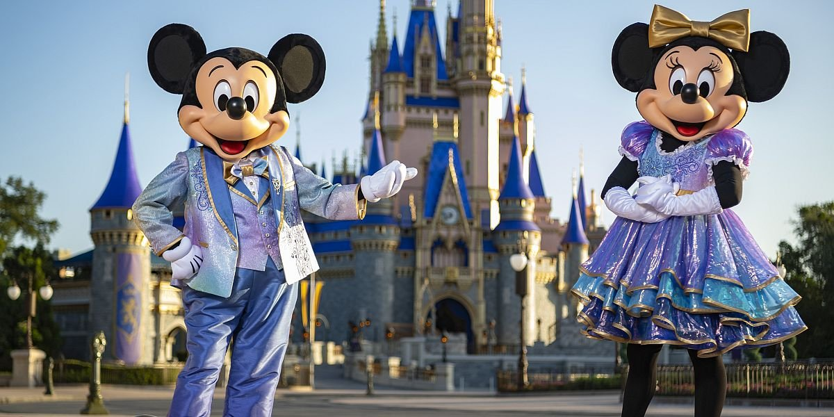 Mickey and Minnie in their 50th anniversary costumes.