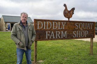 Jeremy Clarkson outside his new farm shop in Clarkson's Farm on TV tonight.