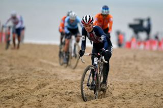 OOSTENDE BELGIUM JANUARY 30 Clara Honsinger of The United States during the 72nd UCI CycloCross World Championships Oostende 2021 Women Elite a 146km UCICX CXWorldCup Ostend2021 CX on January 30 2021 in Oostende Belgium Photo by Luc ClaessenGetty Images